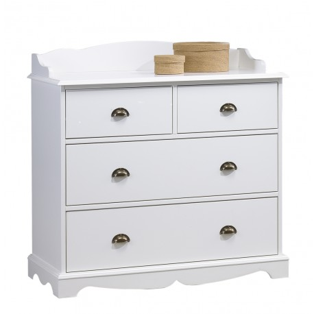 Commode 4 tiroirs + crédence style anglais blanc