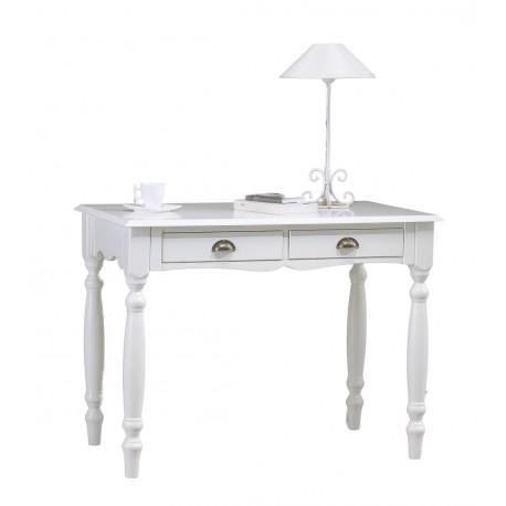 Table à écrire style anglais blanc 2 tiroirs
