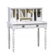 Bonheur du jour + surmeuble style anglais blanc 4 tiroirs 40152