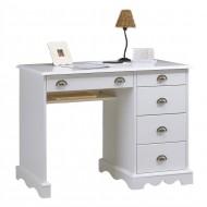 Bureau junior demi ministre style anglais blanc 5 tiroirs 40501