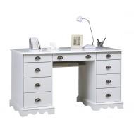 Bureau du notaire / ministre style anglais blanc 9 tiroirs 40502