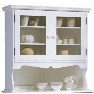 Haut de vaisselier 2 portes vitrées style anglais blanc 40812