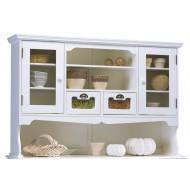 Vaisselier haut 2 P vitrées 2 tiroirs style anglais blanc 40813