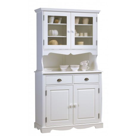 Buffet vaisselier 2P 2T 2P vitrées style anglais blanc 40822