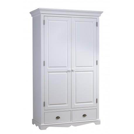 Grande armoire 2 portes 2 tiroirs style anglais blanc 40202