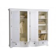Grande armoire 4 portes 4 tiroirs style anglais blanc 40204