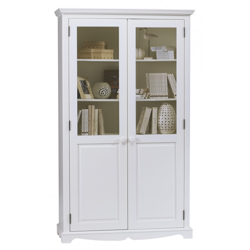 Biblioth que blanche 2 portes style anglais beaux Meuble tv style anglais