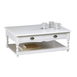 Table Basse Blanche 2 Tiroirs Charme