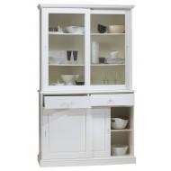 Meuble vaisselier blanc 4 portes coulissantes 40844