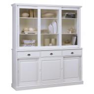 Vaisselier blanc 6 portes coulissantes / bibliothèque blanche