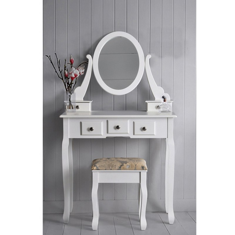 meuble coiffeuse 5 tiroirs blanc ou noyer beaux meubles. Black Bedroom Furniture Sets. Home Design Ideas