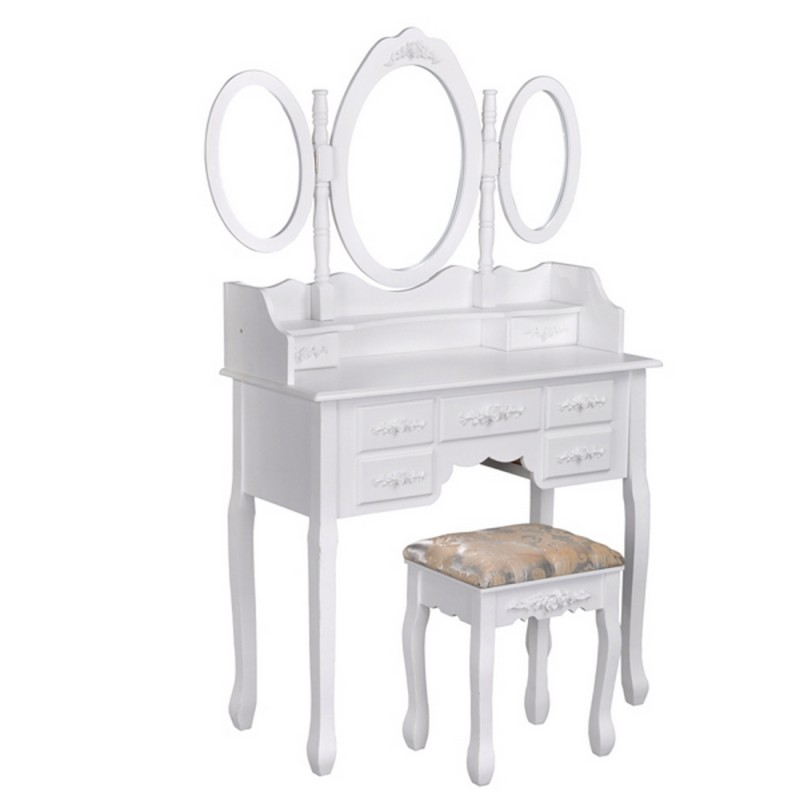 bureau coiffeuse 7 tiroirs blanc beaux meubles pas chers. Black Bedroom Furniture Sets. Home Design Ideas