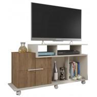 Meuble TV 120 cm 2 Portes Blanc Ecru et chêne
