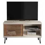 Meuble TV 120 cm Blanc Pieds Métal