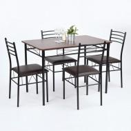Table Repas  110 x 70 et 4 Chaises Métal Wengé