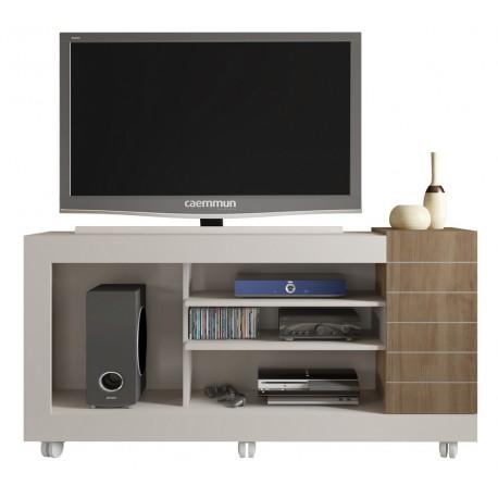 Meuble Tv 55 Pouces Blanc Chene 1 Porte Beaux Meubles Pas Chers