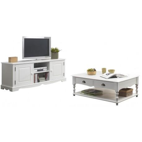 Ensemble Meuble Tv Et Table Basse Blancs Beaux Meubles Pas Chers