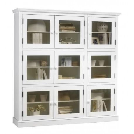 Bibliothèque style anglais blanc 9 portes vitrées 40509
