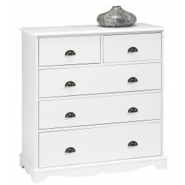 Commode Blanche 5 Tiroirs Style Anglais