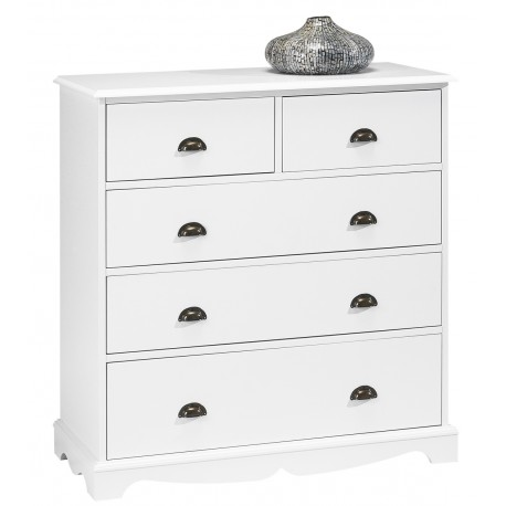 Commode blanche 5 tiroirs de style anglais 40105