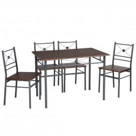 Ensemble Table Repas 110 x 70 et 4 Chaises Métal Noyer