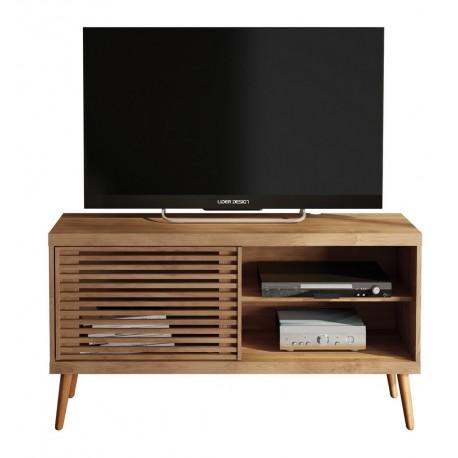 Meuble TV 120 cm Portes Persiennes Pieds Bois