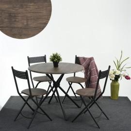 Table Repas Ronde 90 cm et 4 Chaises Métal Noyer