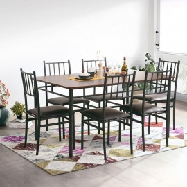 Ensemble Table Repas 150 x 90 et 6 Chaises Métal Noyer