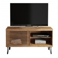 Meuble TV 120 cm Portes Persienne Pieds Métal
