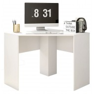 Bureau d'Angle Blanc Mat 90 cm