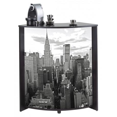 Meuble-Comptoir Bar 96 cm Noir et façade blanche