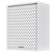 Meuble Cuisine Blanc 60x72 Rideau Imprimé Hexagones Gris
