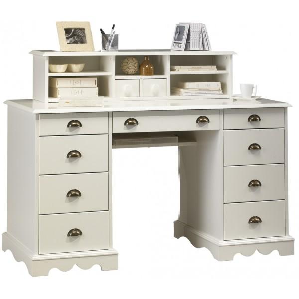 Ensemble bureau biblioth que blanc beaux meubles pas chers for Ensemble meuble bureau