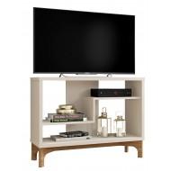 Meuble TV 90 cm Blanc Cassé et Chêne Design