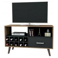 Meuble TV Range-Bouteilles Chataignier Noir