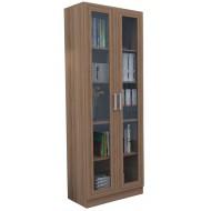 Armoire Bibliothèque 2 Portes Vitrées Châtaignier