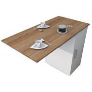 Meuble Cuisine et Table Rabattable Blanc et Châtaignier