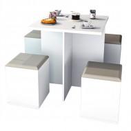 Table et 4 Tabourets Coffre Blanc Beige
