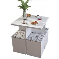 Table et 4 Tabourets Coffre Blanc Damas