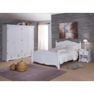Ensemble lit 160 + armoire 4P 4T + chevet blanc style anglais 40