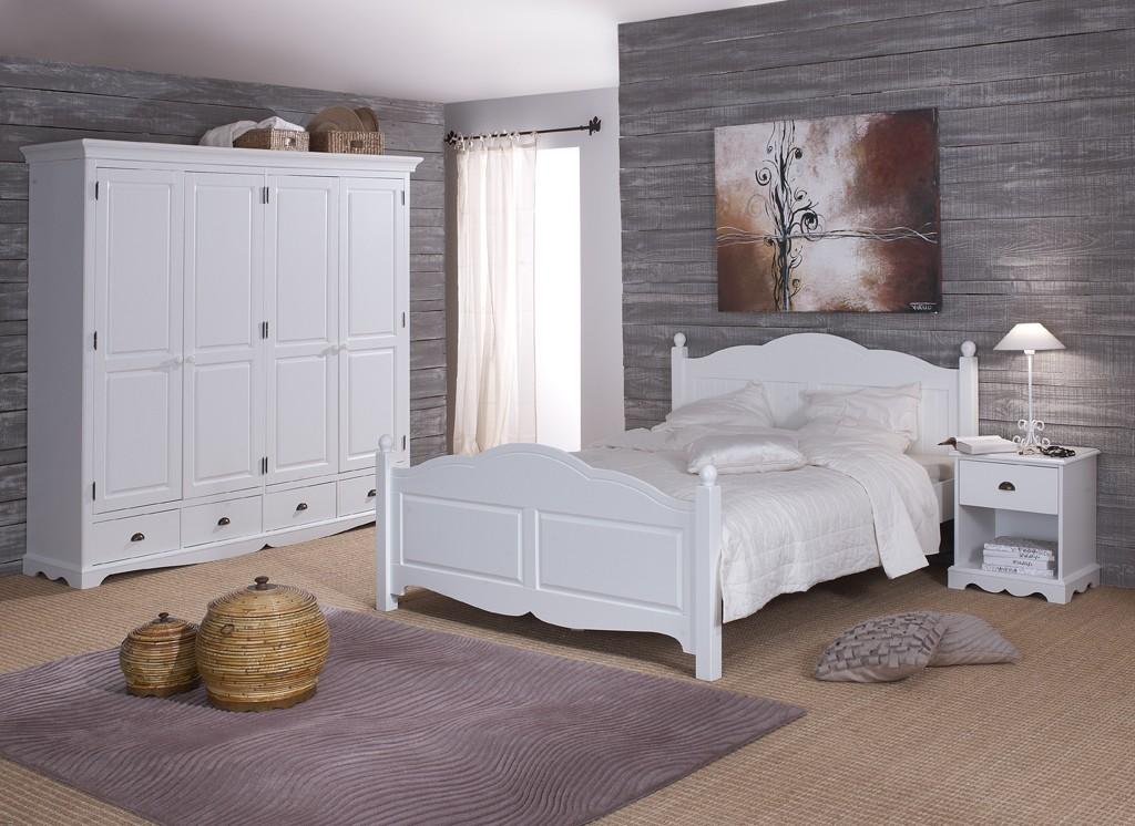 chambre blanche complte lit 160 armoire chevet beaux meubles pas chers - Meuble Chambre Pas Cher
