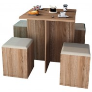 Table et 4 Tabourets Coffre Chataignier Beige