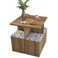 Table et 4 Tabourets Coffre Châtaignier Damas