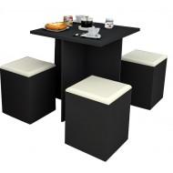 Table et 4 Tabourets Coffre Noir Beige