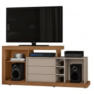 Meuble TV BAR  160 cm Chêne et Taupe