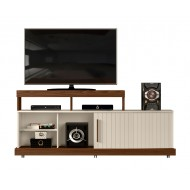 Meuble TV 160 cm Noyer et Blanc Ecru