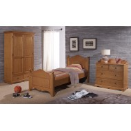 Ensemble Lit 90 + armoire 2P 2T + commode 4T style anglais pin m