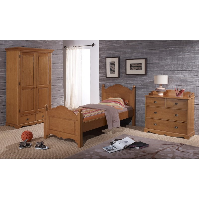 Chambre compl te pin miel lit armoire commode for Chambre adulte complete en pin