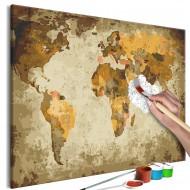 Tableau à peindre par soimême  Brown World Map