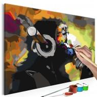 Tableau à peindre par soimême  Singe coloré avec écouteurs
